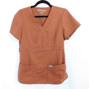 Grey's Anatomy By Barco Scrub Top Rust Brown Med